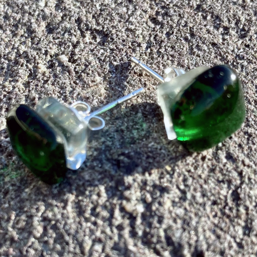Unique-glass-studs--green-and-clear