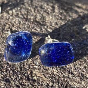 Unique-glass-studs--hand-painted-blue-glass